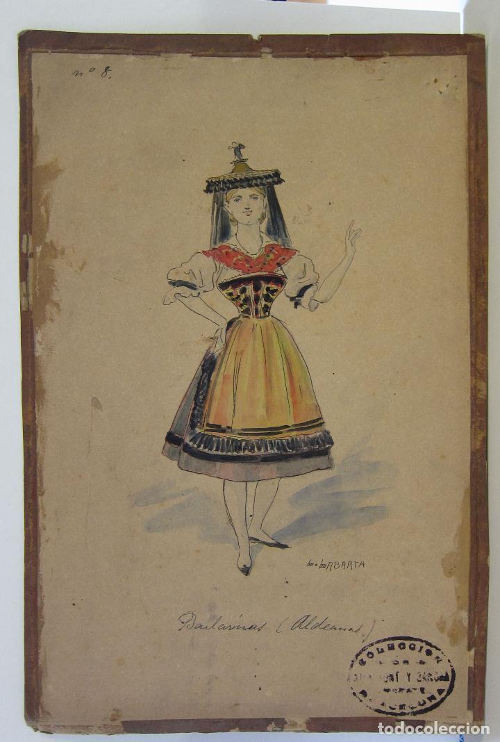 Arte: LUIS LABARTA I GRANÉ.15 FIGURINES DE TEATRO PARA LA OBRA JAVOTTE. TEATRE DEL LICEU, BARCELONA 1898 - Foto 17 - 237283795