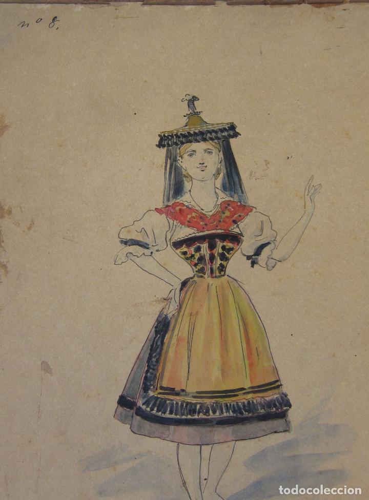 Arte: LUIS LABARTA I GRANÉ.15 FIGURINES DE TEATRO PARA LA OBRA JAVOTTE. TEATRE DEL LICEU, BARCELONA 1898 - Foto 19 - 237283795