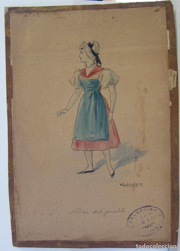Arte: LUIS LABARTA I GRANÉ.15 FIGURINES DE TEATRO PARA LA OBRA JAVOTTE. TEATRE DEL LICEU, BARCELONA 1898 - Foto 28 - 237283795