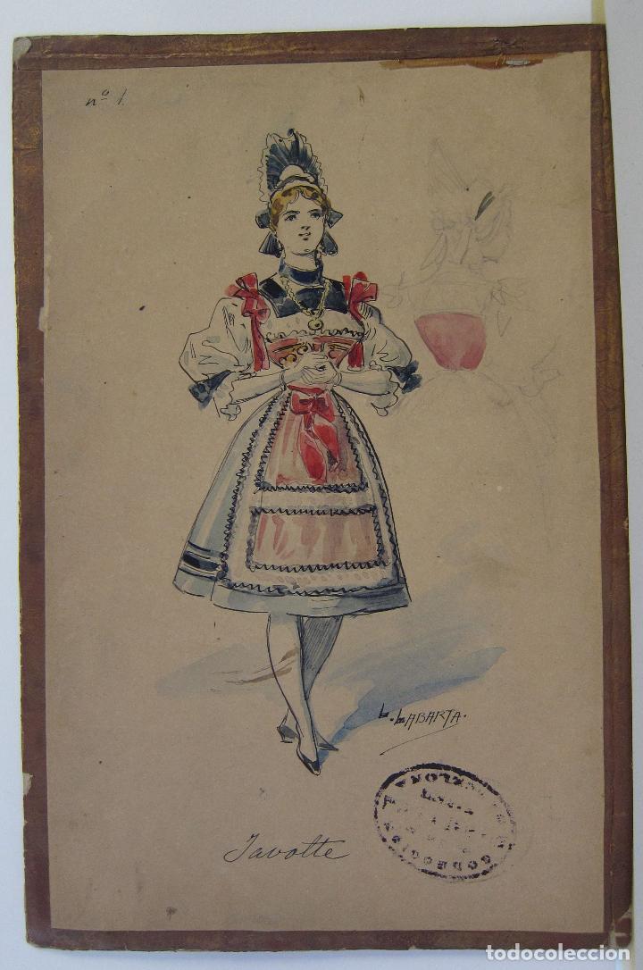 Arte: LUIS LABARTA I GRANÉ.15 FIGURINES DE TEATRO PARA LA OBRA JAVOTTE. TEATRE DEL LICEU, BARCELONA 1898 - Foto 2 - 237283795