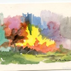 Arte: AMADEU FONTANET I CLEC (1907- 1982) ACUARELA EN TARJETA DE NAVIDAD. Lote 237304005