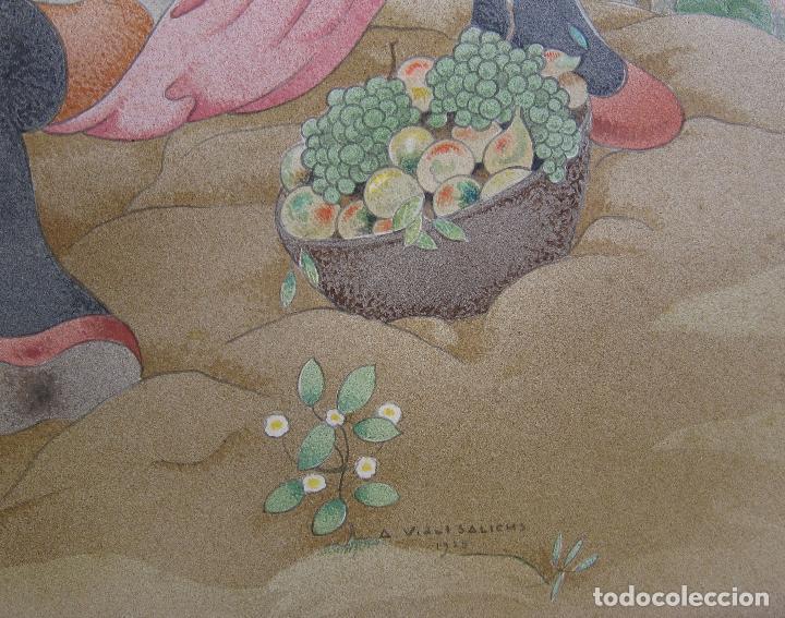 Arte: AGAPIT VIDAL SALICHS. MUCHACHA CON CESTA DE FRUTAS. 1928. ACUARELA. 36 X 39 CM - Foto 4 - 237468770