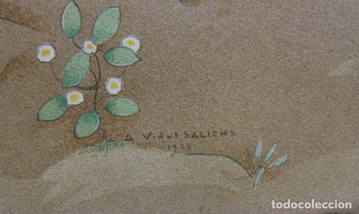 Arte: AGAPIT VIDAL SALICHS. MUCHACHA CON CESTA DE FRUTAS. 1928. ACUARELA. 36 X 39 CM - Foto 5 - 237468770