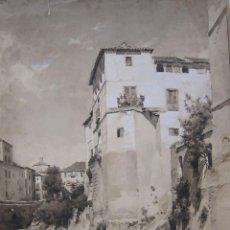 Arte: ISIDORO MARÍN. UN RINCON DE GRANADA. 1900. AGUADA DE TINTA. 50 X 33 CM. Lote 237480110