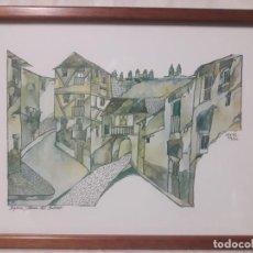 Arte: SEGOVIA , PLAZA DEL SOCORRO / SÁNCHEZ MUÑOZ / ACUARELA. Lote 237483855