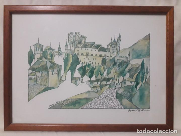 SEGOVIA , EL ALCAZAR / SÁNCHEZ MUÑOZ / ACUARELA (Arte - Acuarelas - Contemporáneas siglo XX)
