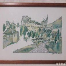 Arte: SEGOVIA , EL ALCAZAR / SÁNCHEZ MUÑOZ / ACUARELA. Lote 237484070