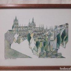 Arte: SEGOVIA , LA CATEDRAL / SÁNCHEZ MUÑOZ / ACUARELA. Lote 237484185