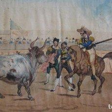 Arte: ESCENA TAURINA. ESCUELA ESPAÑOLA SIGLO XIX. ACUARELA Y TINTA. IMAGEN 27 X 47,5 CM. SOPORTE PAPEL 36,. Lote 237495135