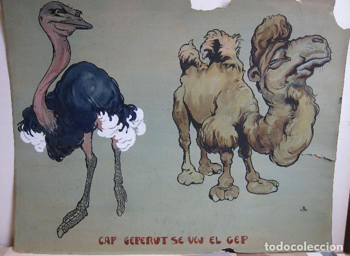 Arte: JOAN LLAVERIAS. CAP GEPERUT SE VEU EL GEP. HACIA 1905. GOUACHE. 51,5 X 66 CM - Foto 2 - 237665440