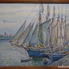 Arte: ACUARELA DE GABRIEL AMAT PAGÉS (BARCELONA 1899-1984).PUERTO.. Lote 237766720