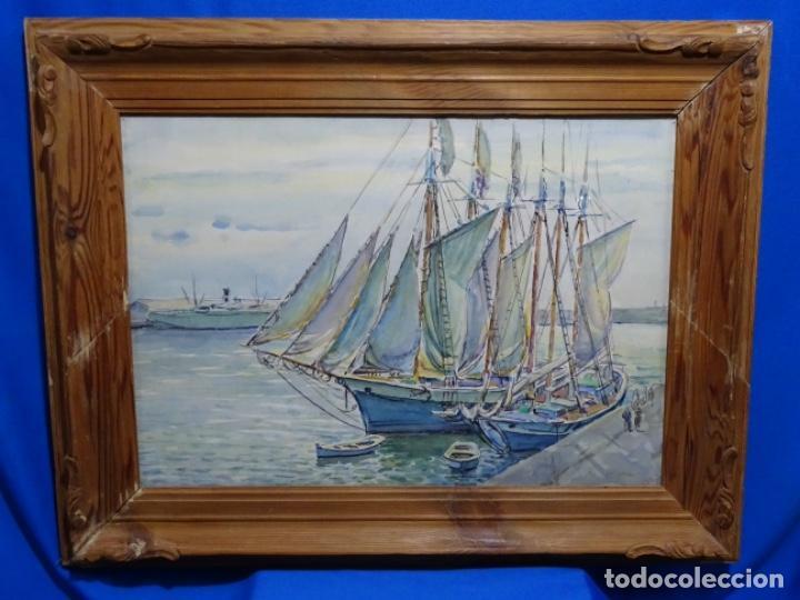 Arte: ACUARELA DE GABRIEL AMAT PAGÉS (BARCELONA 1899-1984).PUERTO. - Foto 2 - 237766720