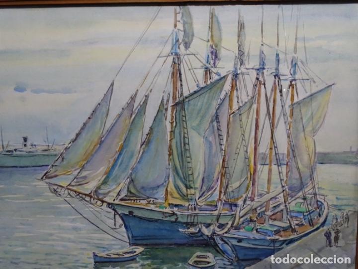 Arte: ACUARELA DE GABRIEL AMAT PAGÉS (BARCELONA 1899-1984).PUERTO. - Foto 3 - 237766720