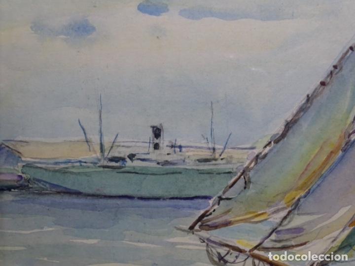 Arte: ACUARELA DE GABRIEL AMAT PAGÉS (BARCELONA 1899-1984).PUERTO. - Foto 4 - 237766720
