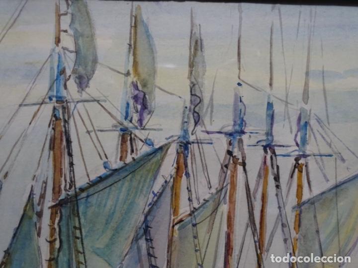 Arte: ACUARELA DE GABRIEL AMAT PAGÉS (BARCELONA 1899-1984).PUERTO. - Foto 5 - 237766720
