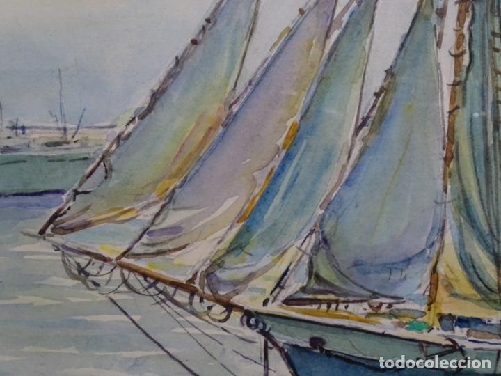 Arte: ACUARELA DE GABRIEL AMAT PAGÉS (BARCELONA 1899-1984).PUERTO. - Foto 6 - 237766720