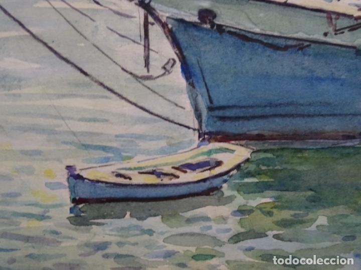 Arte: ACUARELA DE GABRIEL AMAT PAGÉS (BARCELONA 1899-1984).PUERTO. - Foto 7 - 237766720