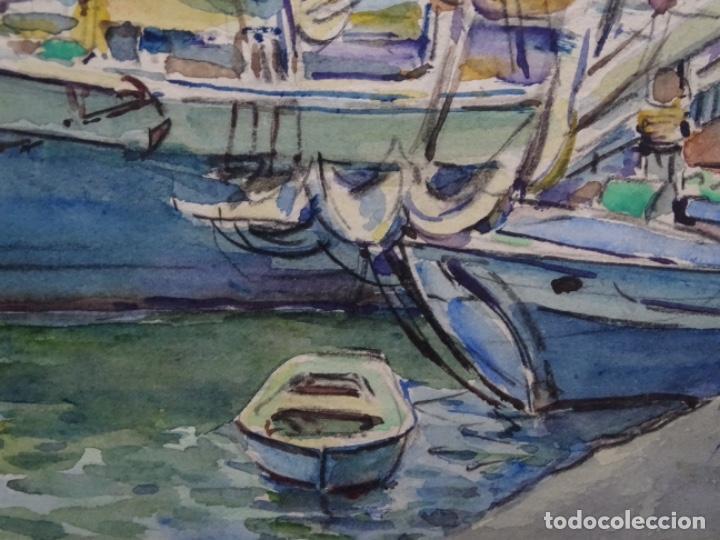 Arte: ACUARELA DE GABRIEL AMAT PAGÉS (BARCELONA 1899-1984).PUERTO. - Foto 8 - 237766720