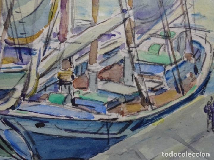 Arte: ACUARELA DE GABRIEL AMAT PAGÉS (BARCELONA 1899-1984).PUERTO. - Foto 9 - 237766720