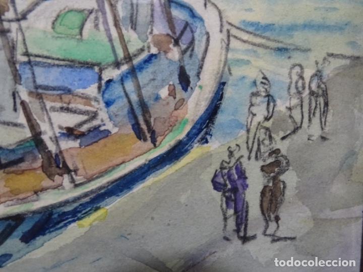 Arte: ACUARELA DE GABRIEL AMAT PAGÉS (BARCELONA 1899-1984).PUERTO. - Foto 10 - 237766720