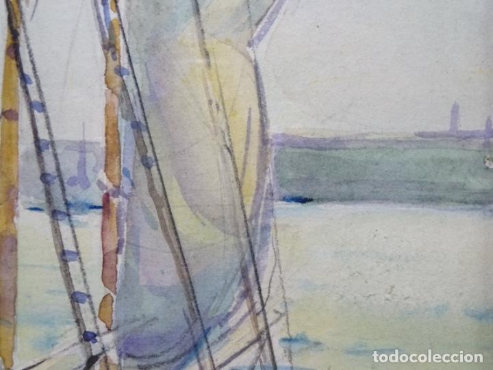 Arte: ACUARELA DE GABRIEL AMAT PAGÉS (BARCELONA 1899-1984).PUERTO. - Foto 11 - 237766720