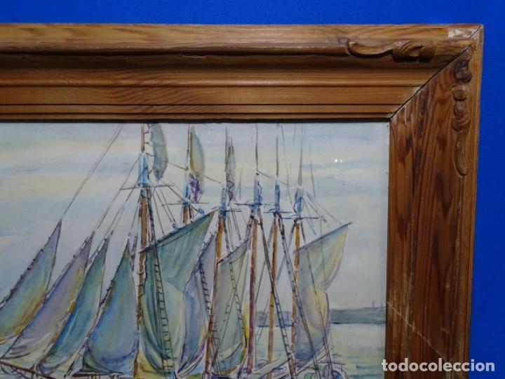 Arte: ACUARELA DE GABRIEL AMAT PAGÉS (BARCELONA 1899-1984).PUERTO. - Foto 12 - 237766720