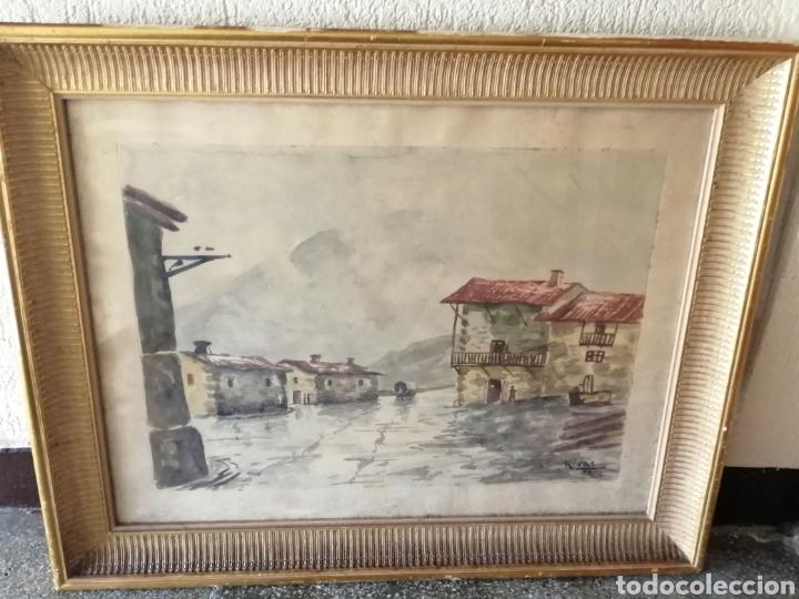 GRANDE ACUARELA ENMARCADA. FIRMADO: RIVAS (Arte - Acuarelas - Contemporáneas siglo XX)