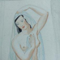 "Art: D'IVORI ""JOVEN DESNUDA ""ORIGINAL. Lote 240041875"
