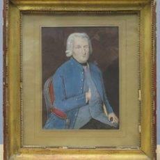Arte: RETRATO DE CABALLERO. GUACHE S/ PAPEL. SIGLO XVIII. MARCO ANTIGUO. Lote 240342140