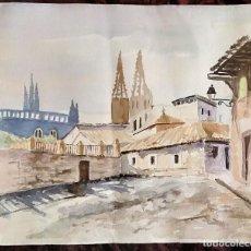 Arte: ACUARELA / * PAISAJE URBANO CON CATEDRAL AL FONDO * (BURGOS ?). AUTORÍA; PIZARRO. AÑOS 60 (S. XX).. Lote 240418115