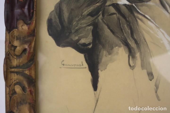 Arte: Interesante retrato de hombre afligido, acuarela, firma ilegible, con marco. 35x29cm - Foto 2 - 240995240
