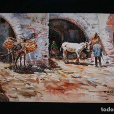 Arte: FRANCISCO CLAVERO MEDINA (VÉLEZ, MÀLAGA, 1927) EXCELENTE Y GRAN ACUARELA , ESCENA RURAL .. Lote 241078025