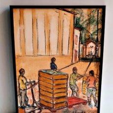 Art: J TURRALDE CREO TECNICA MISTA DIBUJO, ACUARELA Y OLEO FIRMADO A MANO CON MARCO ALUMINIO - 30 X 41.CM. Lote 241091845