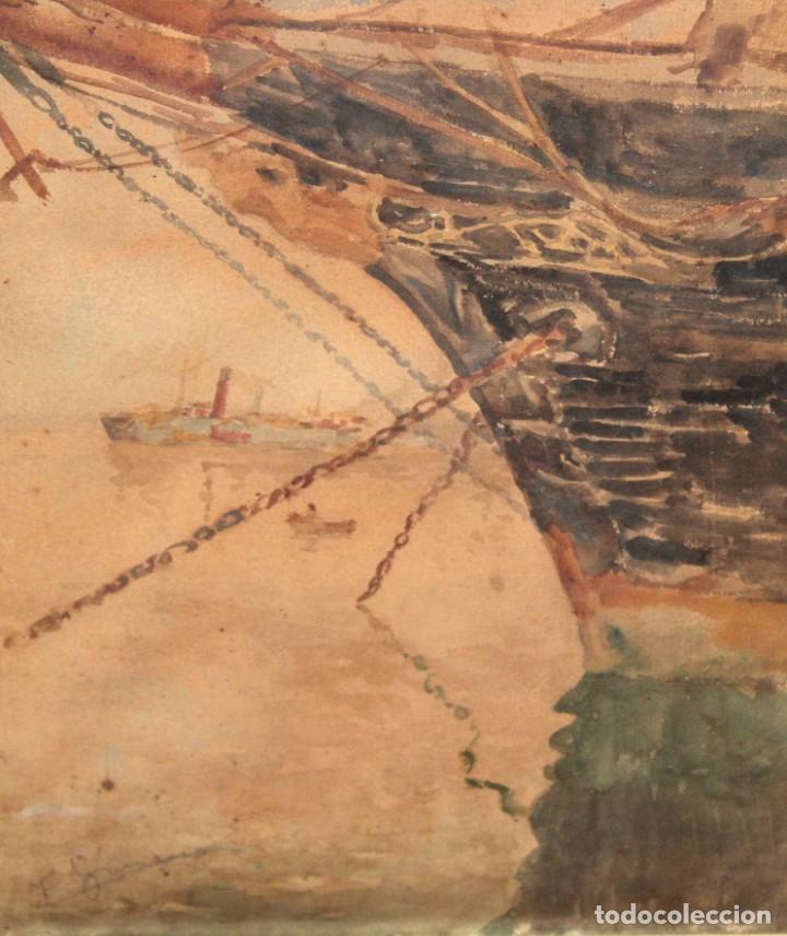 FRANCISCO GIMENO ARASA (1858 - 1927) ACUARELA SOBRE PAPEL. PUERTO (Arte - Acuarelas - Modernas siglo XIX)
