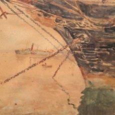 Arte: FRANCISCO GIMENO ARASA (1858 - 1927) ACUARELA SOBRE PAPEL. PUERTO. Lote 241402025