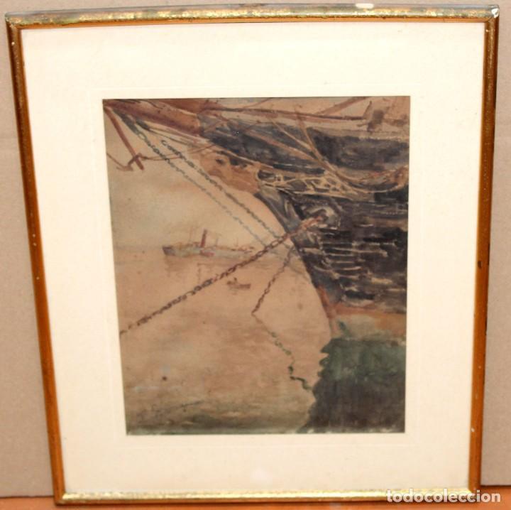 Arte: FRANCISCO GIMENO ARASA (1858 - 1927) ACUARELA SOBRE PAPEL. PUERTO - Foto 2 - 241402025