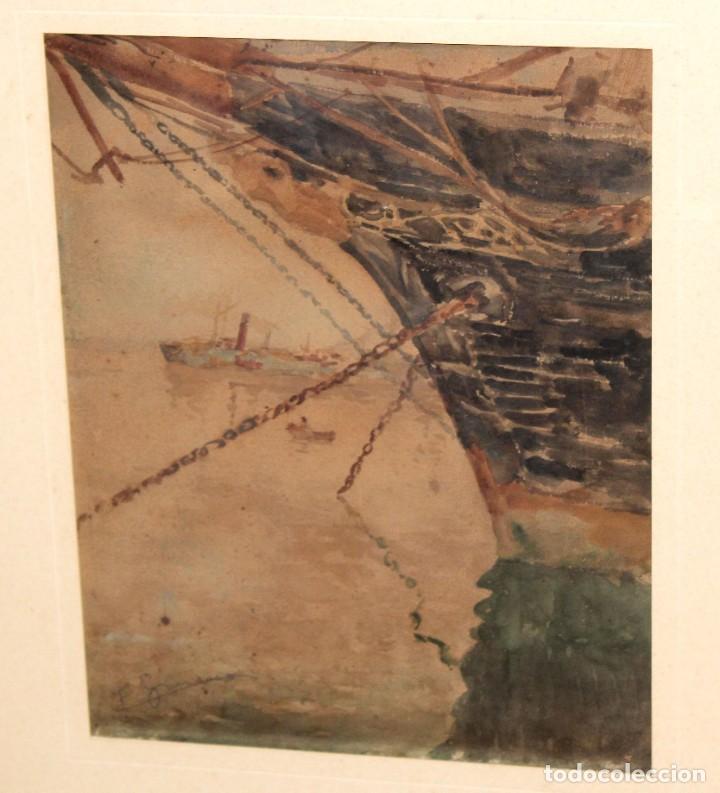 Arte: FRANCISCO GIMENO ARASA (1858 - 1927) ACUARELA SOBRE PAPEL. PUERTO - Foto 3 - 241402025