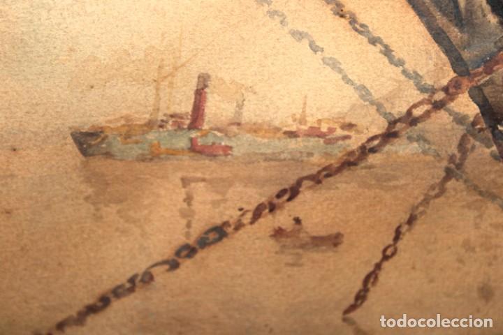 Arte: FRANCISCO GIMENO ARASA (1858 - 1927) ACUARELA SOBRE PAPEL. PUERTO - Foto 4 - 241402025