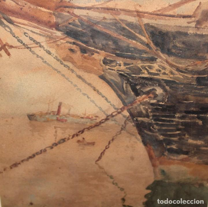 Arte: FRANCISCO GIMENO ARASA (1858 - 1927) ACUARELA SOBRE PAPEL. PUERTO - Foto 5 - 241402025