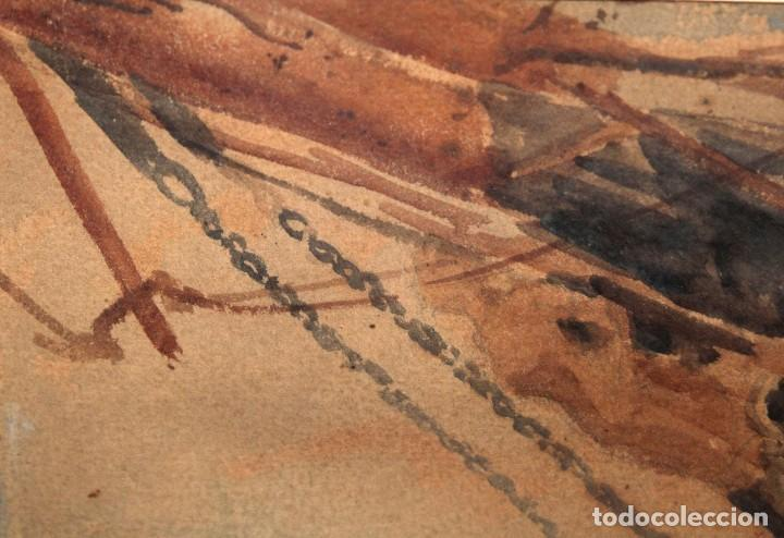 Arte: FRANCISCO GIMENO ARASA (1858 - 1927) ACUARELA SOBRE PAPEL. PUERTO - Foto 7 - 241402025