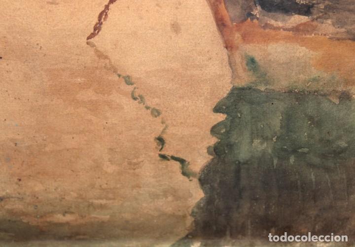 Arte: FRANCISCO GIMENO ARASA (1858 - 1927) ACUARELA SOBRE PAPEL. PUERTO - Foto 8 - 241402025