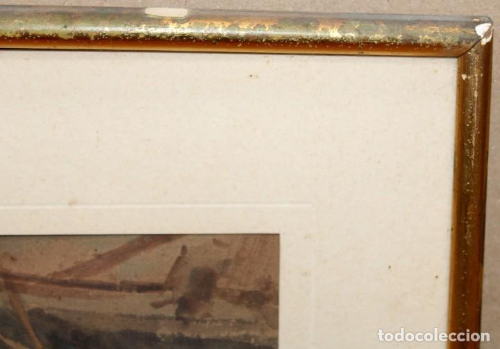 Arte: FRANCISCO GIMENO ARASA (1858 - 1927) ACUARELA SOBRE PAPEL. PUERTO - Foto 10 - 241402025