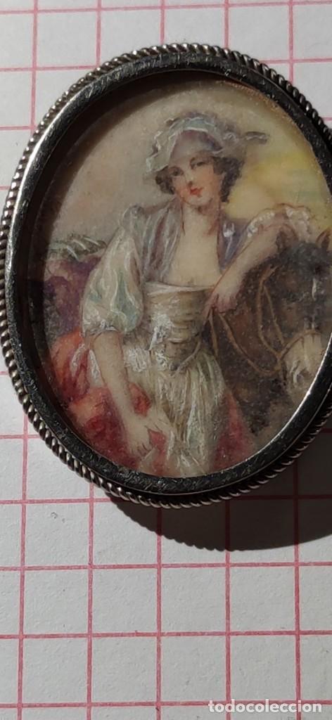 MAGNIFICO BROCHE S.XVIII PINTADO A MANO MONTURA PLATA DE LEY CONTRASTES 4 X 3 CM (Arte - Acuarelas - Antiguas hasta el siglo XVIII)