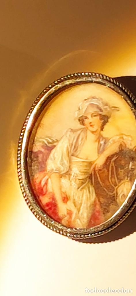 Arte: MAGNIFICO BROCHE S.XVIII PINTADO A MANO MONTURA PLATA DE LEY CONTRASTES 4 X 3 cm - Foto 2 - 241758180