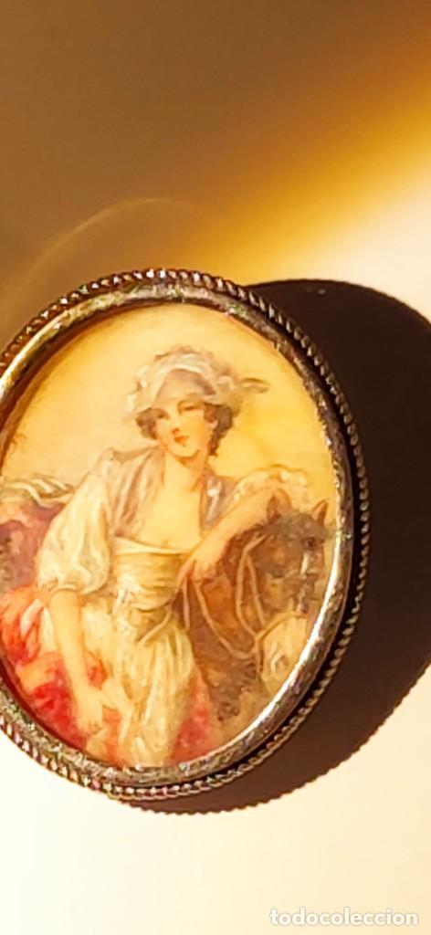 Arte: MAGNIFICO BROCHE S.XVIII PINTADO A MANO MONTURA PLATA DE LEY CONTRASTES 4 X 3 cm - Foto 4 - 241758180