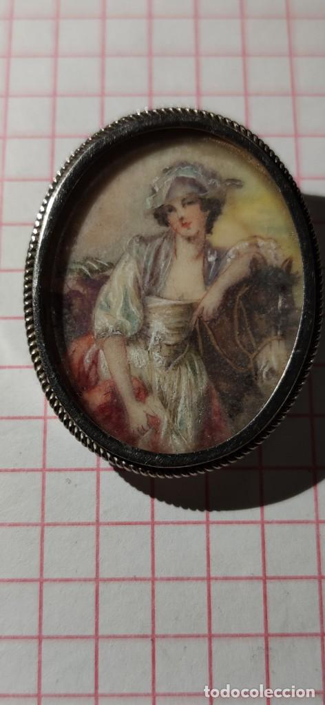 Arte: MAGNIFICO BROCHE S.XVIII PINTADO A MANO MONTURA PLATA DE LEY CONTRASTES 4 X 3 cm - Foto 5 - 241758180