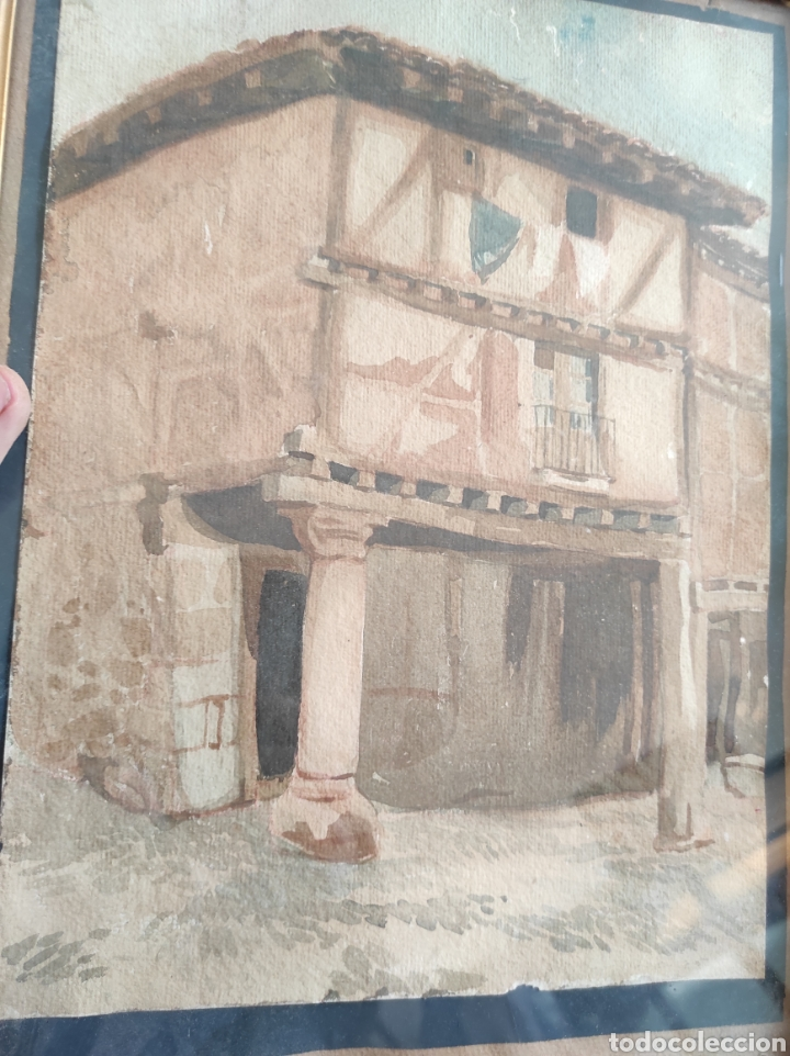 Arte: Antigua acuarela, principios del siglo XX. Recreación de XVII. Enmarcada y con cristal. 30x40cm - Foto 2 - 242334255