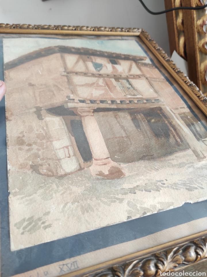 Arte: Antigua acuarela, principios del siglo XX. Recreación de XVII. Enmarcada y con cristal. 30x40cm - Foto 3 - 242334255