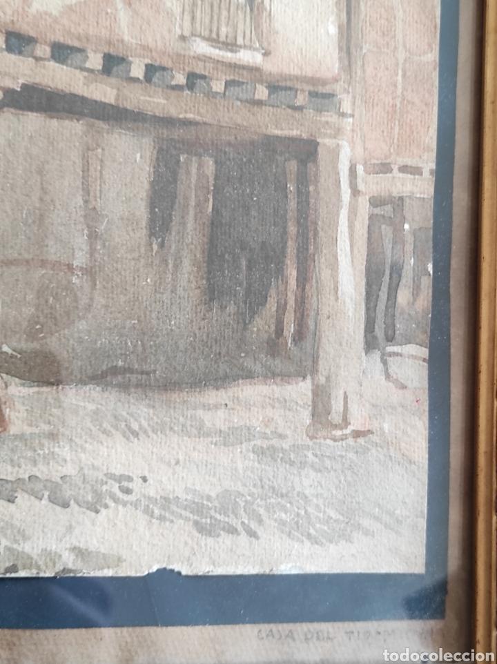 Arte: Antigua acuarela, principios del siglo XX. Recreación de XVII. Enmarcada y con cristal. 30x40cm - Foto 5 - 242334255
