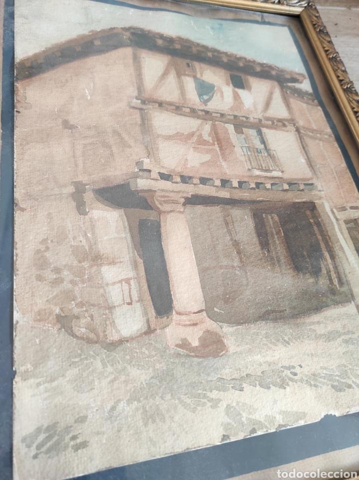 Arte: Antigua acuarela, principios del siglo XX. Recreación de XVII. Enmarcada y con cristal. 30x40cm - Foto 6 - 242334255